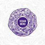 素食主义者菜单设计 紫罗兰色圆白菜 免版税库存照片