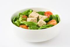 素食主义者豆腐沙拉用在白色背景和菜用结页草隔绝的蕃茄 库存照片