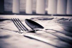餐位餐具银器 库存图片