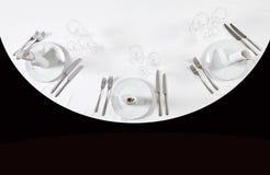 餐位餐具顶视图 免版税库存图片