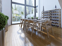 餐厅设计有棕色家具的 库存照片