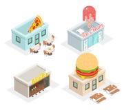 餐馆、咖啡馆和快餐商店象 免版税库存图片