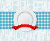 餐馆与板材和丝带的菜单设计 免版税图库摄影