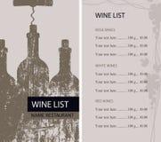 餐馆与瓶和拔塞螺旋的酒类一览表 库存例证