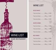 餐馆与瓶和拔塞螺旋的酒类一览表 向量例证
