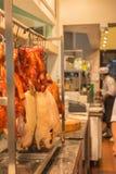 餐馆中国人厨房的厨师 免版税库存照片