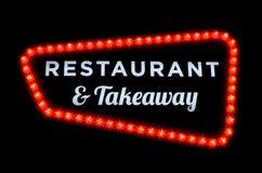 餐馆和拿走霓虹灯广告 库存图片