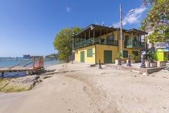 餐馆和海滩在Boqueron,波多黎各 库存图片