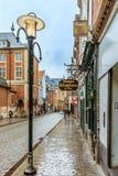 餐馆和砖房子在鲁汶比利时 免版税图库摄影