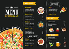 餐馆咖啡馆菜单模板平的设计 皇族释放例证