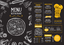 餐馆咖啡馆菜单,模板设计 食物飞行物 免版税库存照片