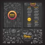 餐馆咖啡馆菜单,模板设计 免版税库存图片