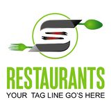 餐馆商标设计 皇族释放例证