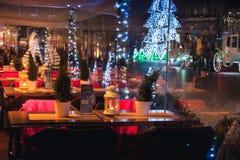 餐馆圣诞节装饰 免版税库存图片