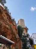餐馆在南部的西班牙地区的最美好的`白色`村庄的米哈斯一叫安达卢西亚 库存图片