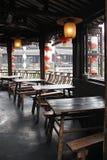 餐馆在古老城镇 免版税库存照片
