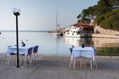 餐馆地中海游艇 库存图片