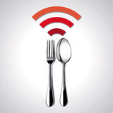 餐馆地点传染媒介释放WiFi 免版税库存图片
