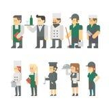 餐馆工作者集合平的设计  向量例证