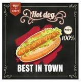 餐馆快餐在黑板传染媒介格式ep的菜单热狗 免版税库存照片