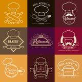 餐馆或咖啡馆的商标启发 导航例证,图表元素编辑可能为设计 库存图片