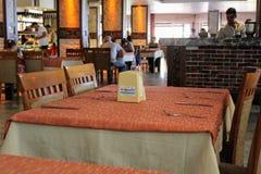 餐馆所有包含在Kleopatra海滩旅馆阿拉尼亚,土耳其里 库存图片