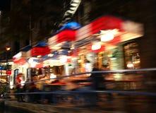 餐馆摘要在晚上,河步行,圣安东尼奥 图库摄影