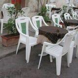 餐馆桌在兰佩杜萨 图库摄影