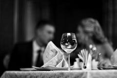 餐馆桌设置,宴会 免版税库存图片