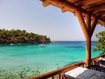 餐馆海视图, Thassos海岛 免版税库存照片