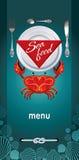 餐馆海鲜的菜单 免版税库存图片