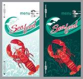 餐馆海鲜龙虾的菜单 库存图片