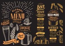 餐馆的啤酒菜单 与手拉的graphi的设计模板 免版税库存图片