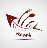 餐馆的抽象风格化鱼菜单 免版税库存图片