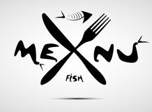 餐馆的抽象风格化鱼菜单 免版税图库摄影