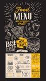 餐馆的食物菜单 导航酒吧和咖啡馆的食物飞行物  免版税库存图片