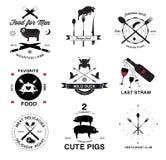 餐馆菜单减速火箭的商标和设计元素 免版税库存图片