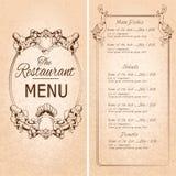 餐馆菜单模板 向量例证