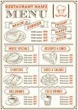餐馆菜单模板 免版税库存图片