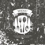 餐馆菜单设计。 Grunge样式 库存例证