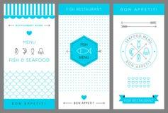 餐馆菜单设计模板 海鲜 向量 免版税库存照片