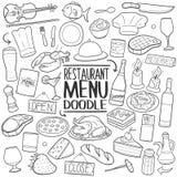 餐馆菜单食物传统乱画象手凹道集合 库存图片