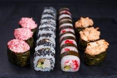 餐馆菜单,日本食物艺术 开胃maki和gunkan m 库存图片