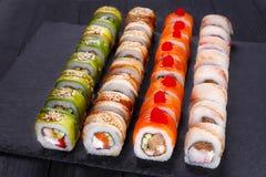 餐馆菜单,日本食物艺术 开胃maki寿司集合, s 库存照片