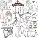餐馆被设置的剪影乱画 手拉的元素食物和饮料,刀子,叉子,菜单,厨师制服,酒瓶,侍者围裙凹道 库存例证