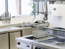 餐馆设备厨房器物工作区 库存图片
