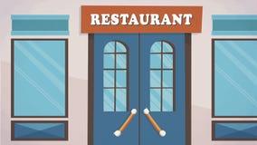 餐馆门面动画片的,动画入口传染媒介,做广告, campaing 库存图片
