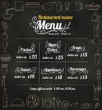 餐馆食物与黑板背景传染媒介fo的菜单设计 图库摄影