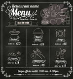 餐馆食物与黑板背景传染媒介fo的菜单设计 免版税图库摄影