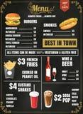 餐馆食物与黑板背景传染媒介fo的菜单设计 免版税库存图片